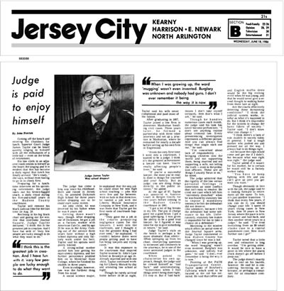 Hon. James W. Taylor, J.S.C. in the news